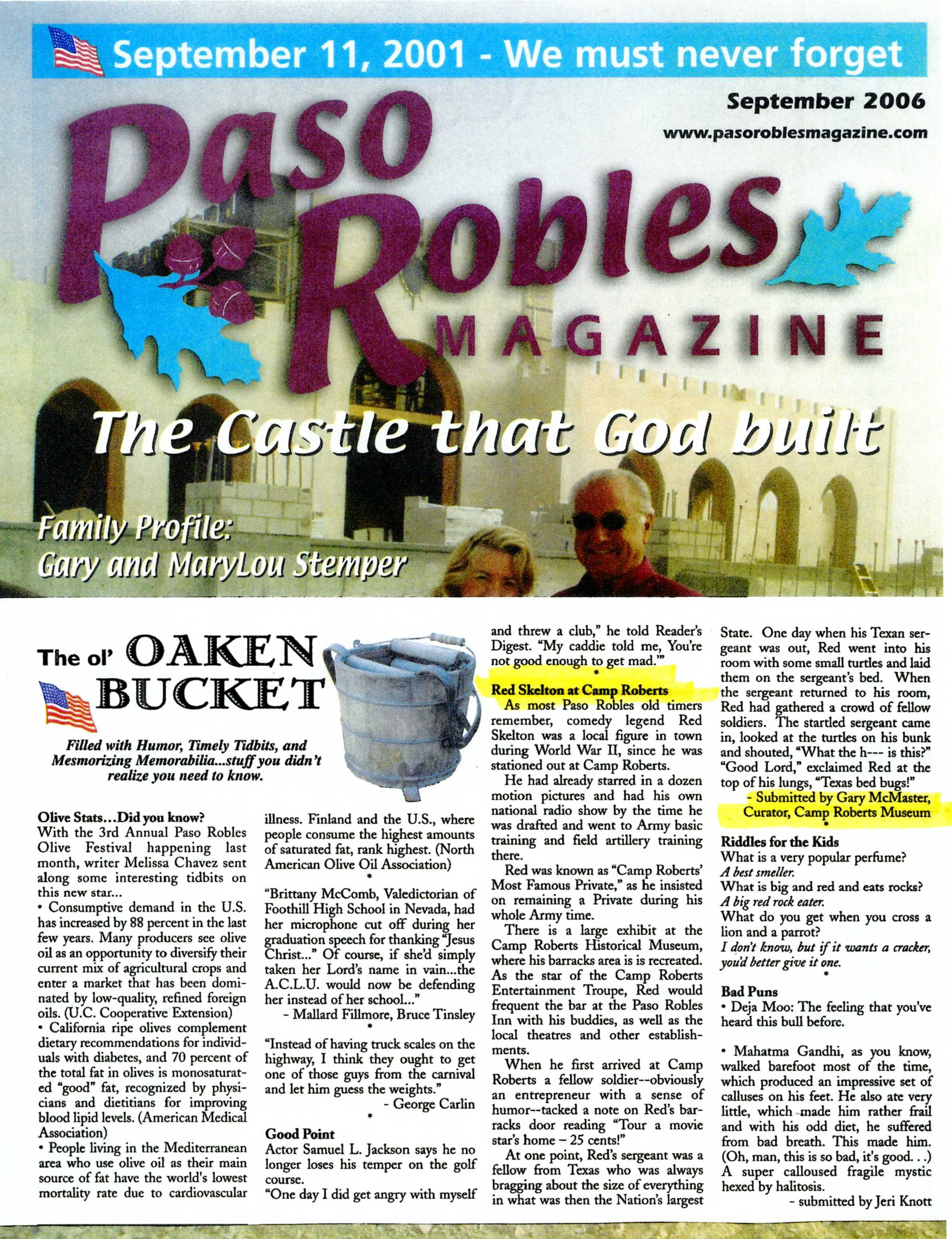Red Skelton at Camp Roberts - Paso Robles Magazine, SEP 2006