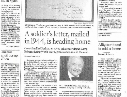 A Soldier's letter mailed in 1944, is heading home! – Los Angeles Times, 9 MAR 2011