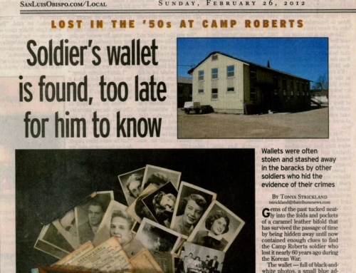 Soldier's wallet is found, too late for him to know – SLO Tribune, 26 FEB 2012